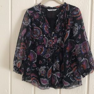 Ruffle trim paisley print blouse